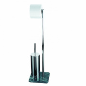 Axxentia Bad Galant 282260 Toilet Roll and Brush Holder 72 cm Chromed with Marble Base and Closed Brush-Holder with Metal Pole