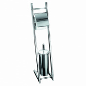Axxentia Bad Alena 282253 Toilet Roll and Brush Holder Chromed with Closed Brush-Holder with Metal Handle and Oval Barrel 74 cm