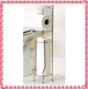 FREESTANDING CHROME FRAME BATHROOM TOILET ROLL HOLDER + 2 ROLLS STORAGE STAND