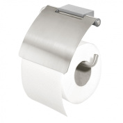 Tiger Cliqit 28663 Toilet Paper Holder with Cover / Brushed Stainless Steel Holder with ABS Plastic Wall Mount Grey