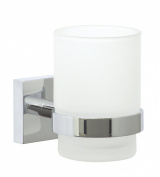 nie wieder bohren Ekkro EK145 Toothbrush Glass Holder 6.7 x 11 x 9.5 cm Chromed with Mounting Technology