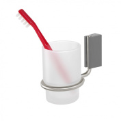 Tiger Cliqit 28513 Cup Holder with ABS Plastic Wall Mount / Brushed Stainless Steel / Glass / Grey / Frosted White