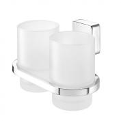 Tiger Impuls 38523_03 Double Beaker Holder Stainless Steel / Zamak Chromed / Genuine Glass / Frosted White