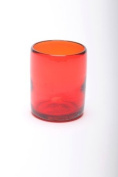 Tumbler, recycled, handblown glass (10cm) - Red
