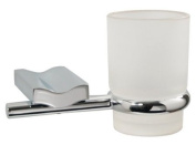 Wave Frosted Glass Bathroom Tumbler with Holder