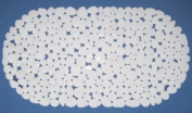 Pebble Bath Mat White 100% Vinyl Slip Resistant 36x69cm