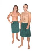Arus Men's Towel Wrap, 100%Turkish Organic Terry Cotton, Hook-and-loop fastener on waist, elastic band