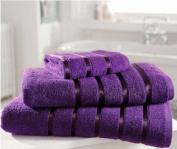 Kensington Egyptian Cotton Satin Stripe Bath Towel, Purple 600 gsm Luxury Towel - Linenstowels2011