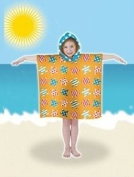 Kids Childrens Hooded Yellow Teal Blue Stars Microfibre Poncho Beach Towel UV Protection Factor 40+