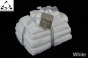 WHITE 650gsm 6pc Prestige 'Luxor' Egyptian Cotton Towel Bale Bundle Gift Set