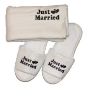 Just Married Slippers & Towel Set