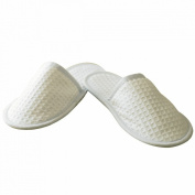 Towel City Waffle Mule Slippers SIZE 4 to 7 COLOUR White