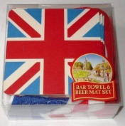 Union Jack Bar Towel and 10 Beer Mats in Acetate Pack