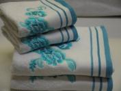 Belvoir Rose White Blue Egyptian Cotton Bath Sheet, Blue 600 gsm Belvoir Rose Floral Embroidered