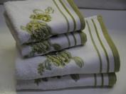 Belvoir Rose White Green Egyptian Cotton Bath Sheet, Green 600 gsm Belvoir Rose Floral Embroidered