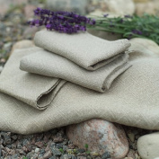 Set of 2 Hand and Guest Towels Natural Linen Rhomb Damask