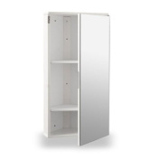 White Gloss Wall Hung Corner Bathroom Cabinet with Single Mirrored Door