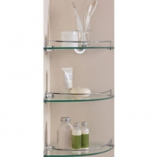 Essentialz Glass Corner Shelves - Pack of 3 with Microfibre HSB Cleaning Glove
