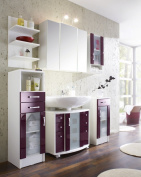 Posseik Nizza 5410 89 Bathroom Cupboard Polished White and Pink