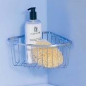 InterDesign Gia Bathroom Suction Shower Caddy for Shampoo, Conditioner, Soap - Corner, Chrome
