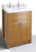 Burlington WashBasin Vanity Unit & Basin - Oak Wash Stand & Classic Ceramic Inset Sink - Taps & Chrome Pop-Up Waste Included