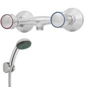 CHROME BATHROOM MIXER SHOWER & KIT WALL MOUNTED 2 TAPS