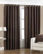 Fiji Faux Silk Ring Top Chocolate Curtains 168 x 137