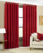 Glenville Red Chenille Ring Top Curtains 229 x 229