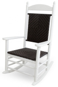 CASA BRUNO Original Jefferson Rocker made of recycled Polywood® HDPE lumber, white with woven seat and back Cahaba - unconditionally weather-resistant