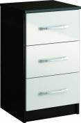 Birlea Lynx 3-Drawer Bedside Table - High-Gloss, Black and White