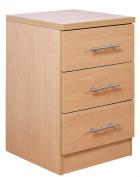 Las Vegas Beech Bedroom Furniture Range - 3 Drawer Bedside Cabinet