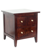 Homescapes Groove Dark Solid Mango Wood Lamp Table with Drawers and Adjustable Shelf - Bed Side Table with 100% Solid Wood and Brass Knobs