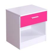 High Gloss Ottawa Caspian Pink / White Bedside Cabinet Only
