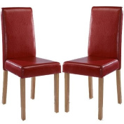 LPD Furniture Oakridge Dining Chair, In Red, Set of 2