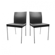 Premier Housewares 82 x 43 x 39 cm Lago Chairs with Faux Leather Seats and Chrome Legs, Set of 2, Black