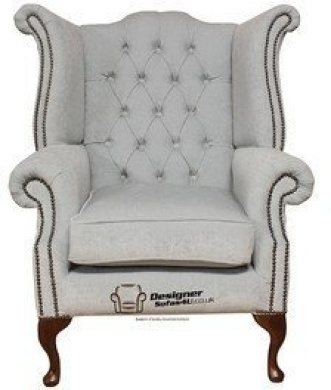 fabric queen anne high back wing chair duck egg blue