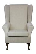 High Back Westoe Chair in Kenton Slub Cream