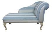 Beautiful Chaise Longue in Duck Egg Blue Stripe 110cm