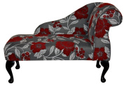 Gorgeous Red, White and Grey Floral Mini Chaise Longue 100cm