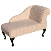 100cm Mini Chaise Longue in a Chalk Pom Pom Fabric