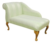 Gorgeous Mini Chaise Longue in a Light Lime / Green stripe damask chenille