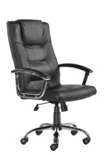 Somerset Leather Faced Executive Office Chair with Pronounced Headrest and Lumbar Support - H1100-1190 X W630 X D720 - Black