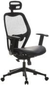 Buerostuhl24 653010 Air-Port Executive Chair Leather / Mesh, Black