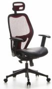 Buerostuhl24 653030 Air-Port Executive Chair Leather / Mesh, Red / Black