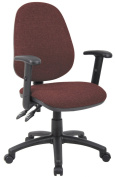 Fabric Operator seating - 2 Lever Operator Chair - Adjustable Arms - Burgundy (V102-00-BU) H995xW1125xD590