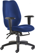 Fabric Manager seating - High Back Operator Chair with Adjustable Arms - Blue (CWL300K2-B) H1180xW1260xD650