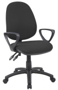 Fabric Operator seating - 3 Lever Operator Chair - Fixed Arms - Black (V201-00-K) H995xW1125xD590