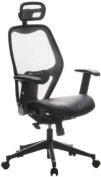 Buerostuhl24 653050 Air-Port Executive Chair Leather / Mesh Silver Grey / Black