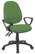 Fabric Operator seating - 2 Lever Operator Chair - Fixed Arms - Green (V101-00-N) H995xW1125xD590