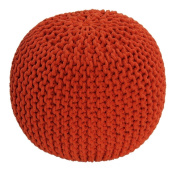 Homescapes Orange Knitted Pouffe Footstool Bean Filled 100% Cotton for Living Room Children or the Elderly
